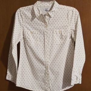 Old Navy White Shirt with Navy Blue Anchors